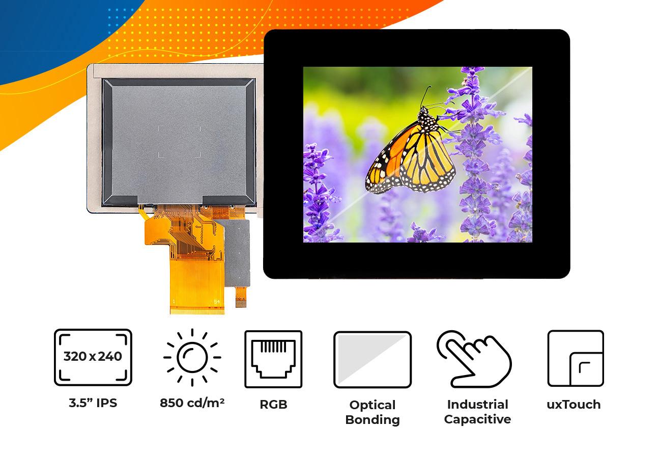 "High brightness IPS 3.5"" optical bonding touch screen display"