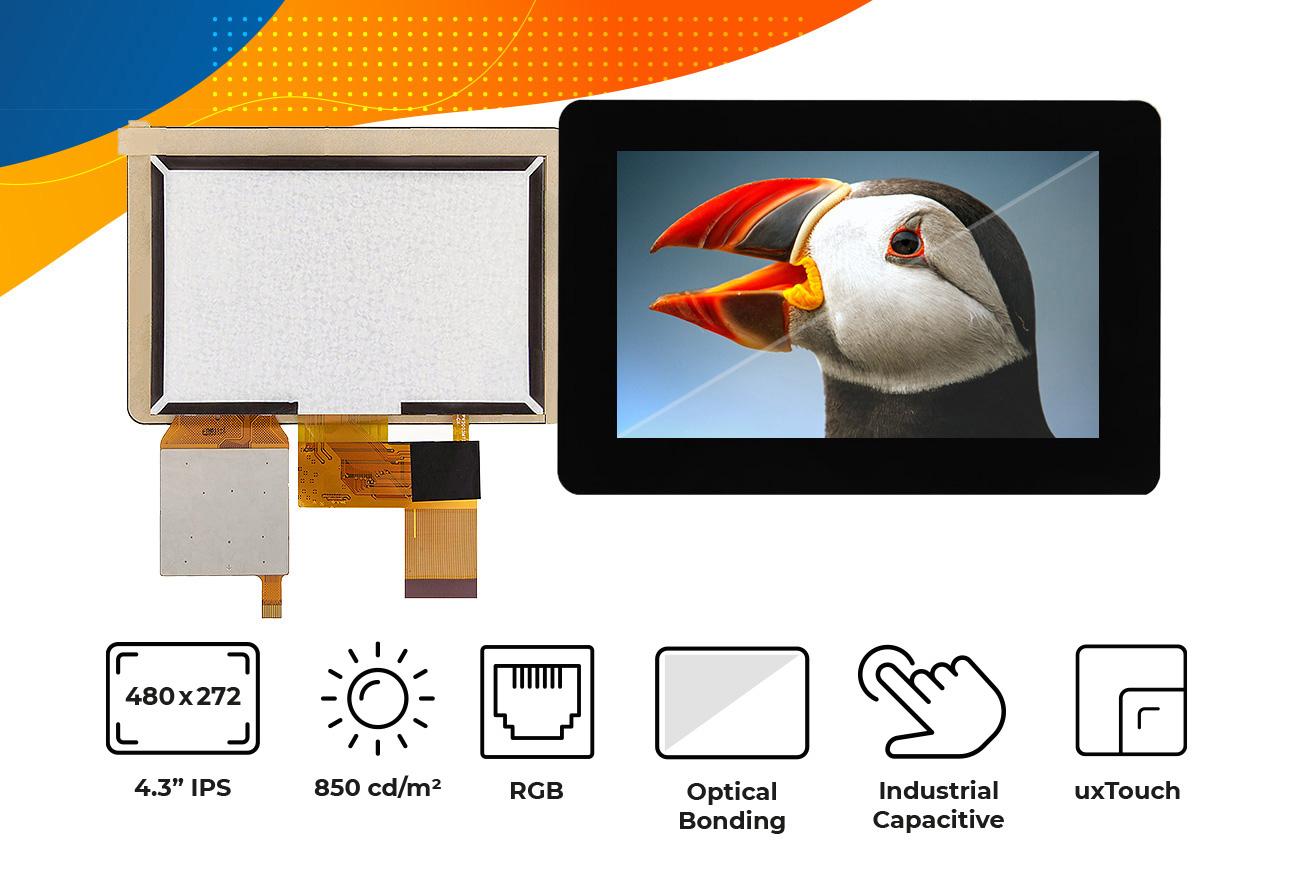"High brightness IPS 4.3"" optical bonding touch screen display"