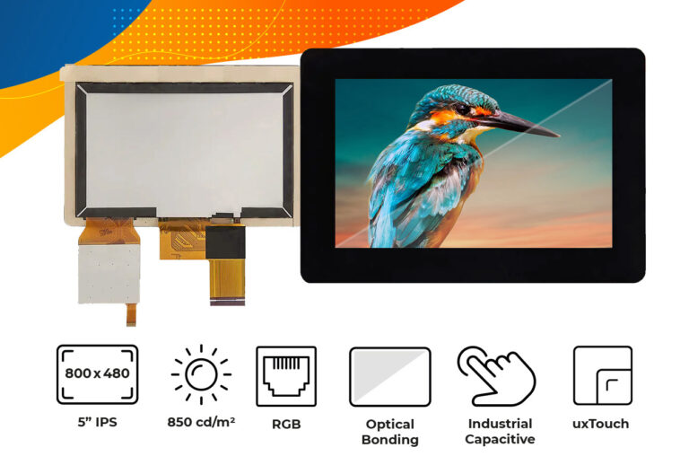 "High brightness IPS 5"" optical bonding touch screen display"