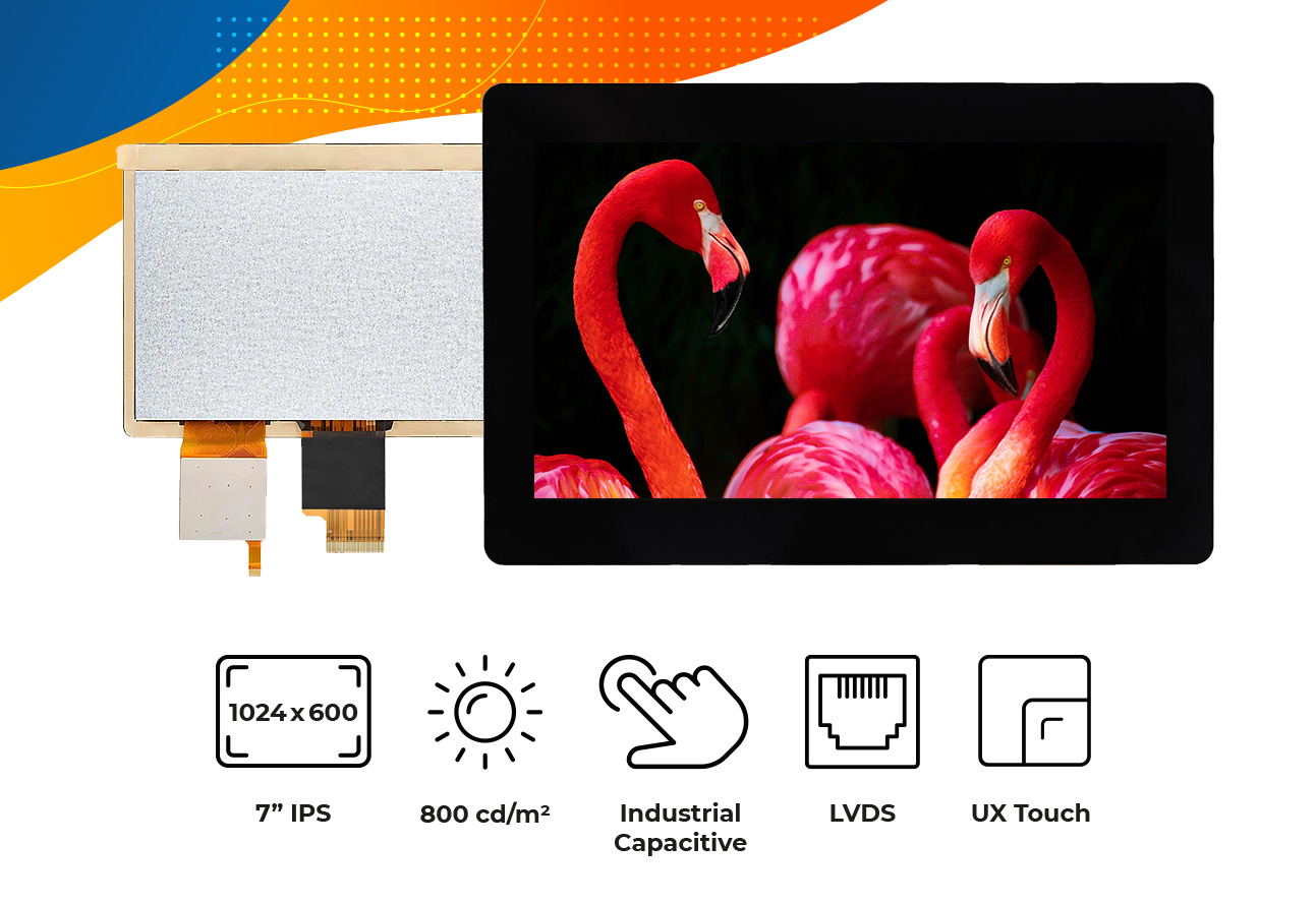 """High brightness IPS 7"""" Touch Screen display"""