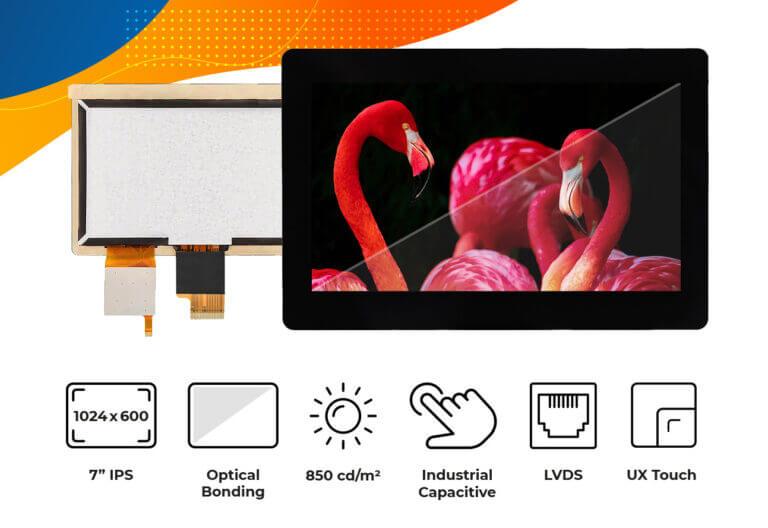 "High brightness IPS 7"" Optical Bonding Touch Screen display"
