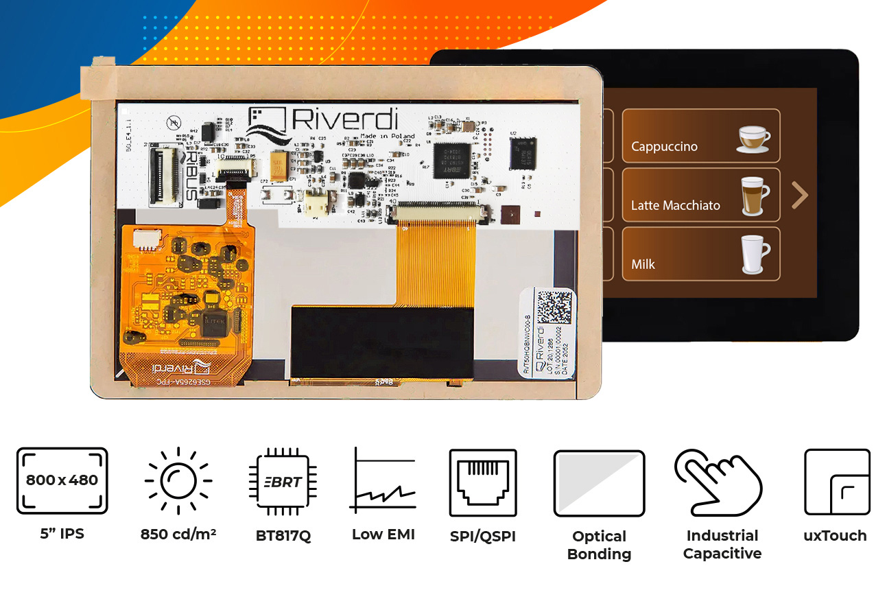 """Eve4 5"""" series Optical bonding touch screen display"""