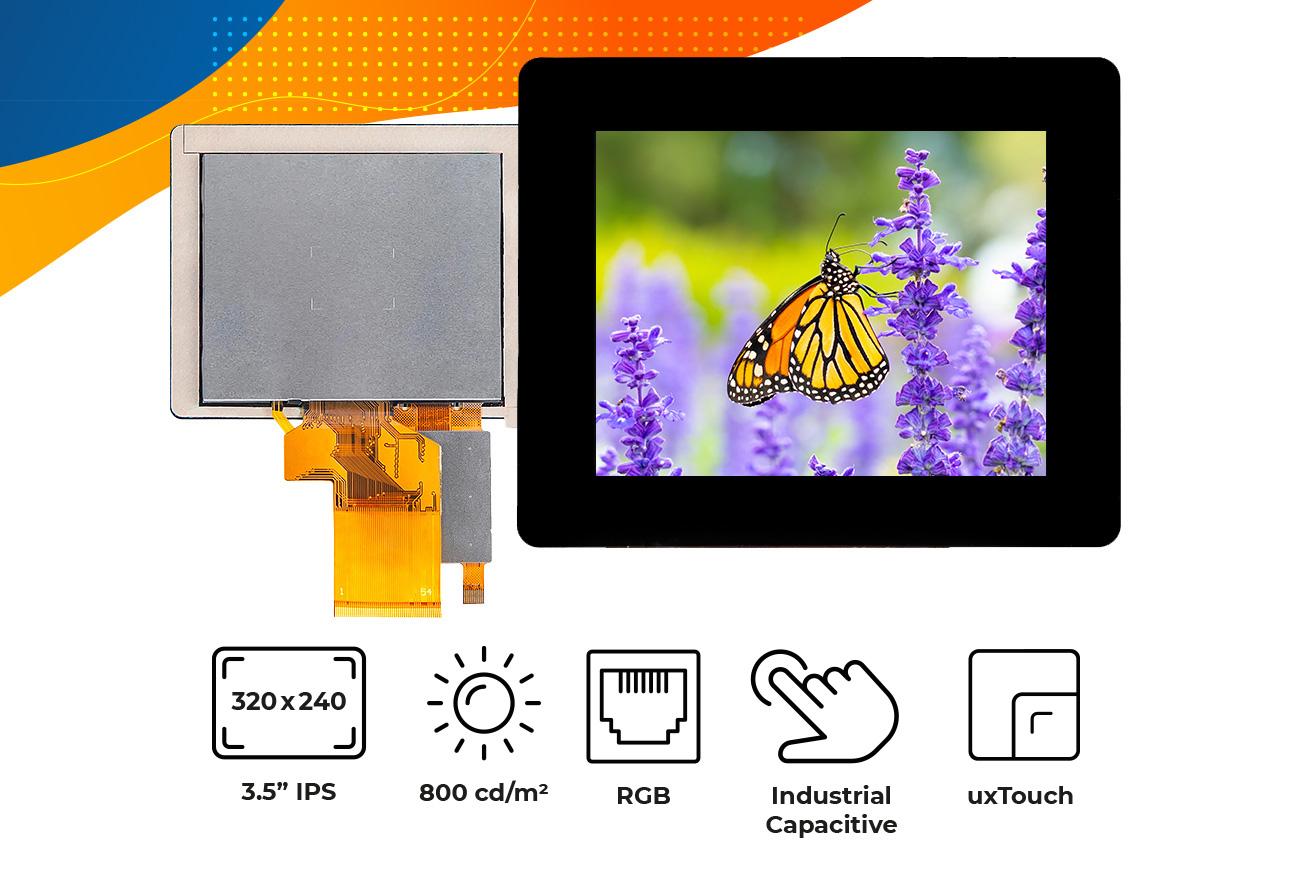 """High brightness IPS 3.5"""" touch screen display"""