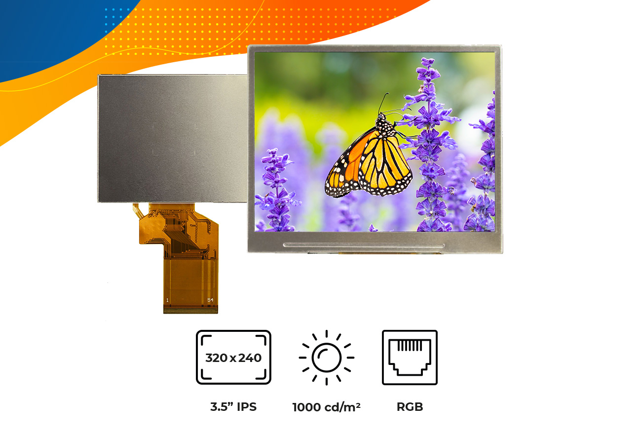 "High brightness IPS 3.5"" no frame display"