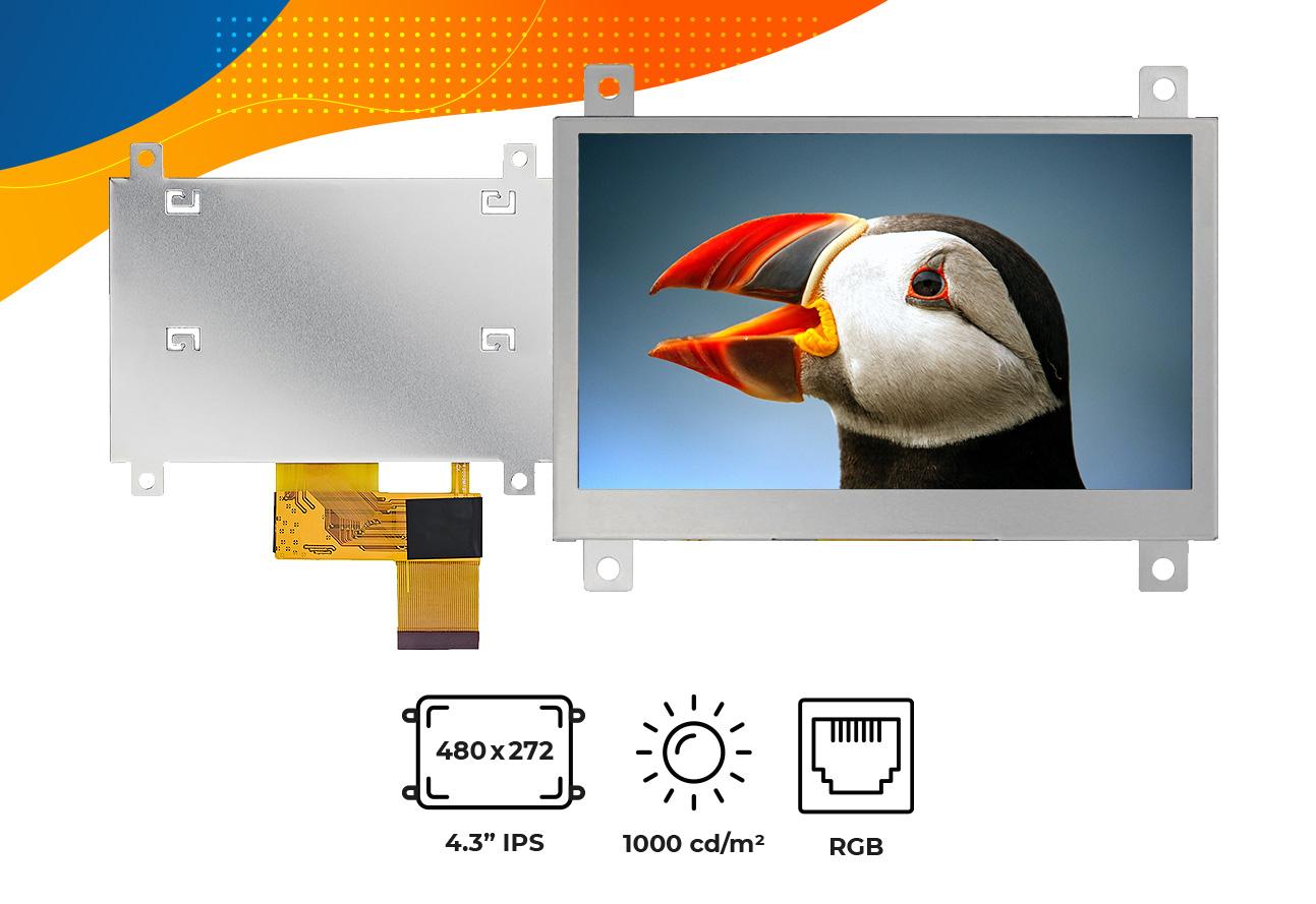 "High brightness IPS 4.3"" frame display"
