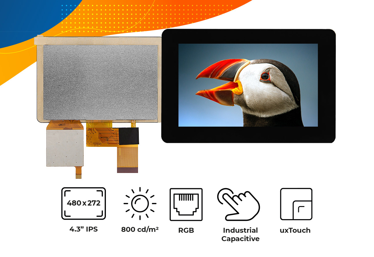 """High brightness IPS 4.3"""" touch screen display"""