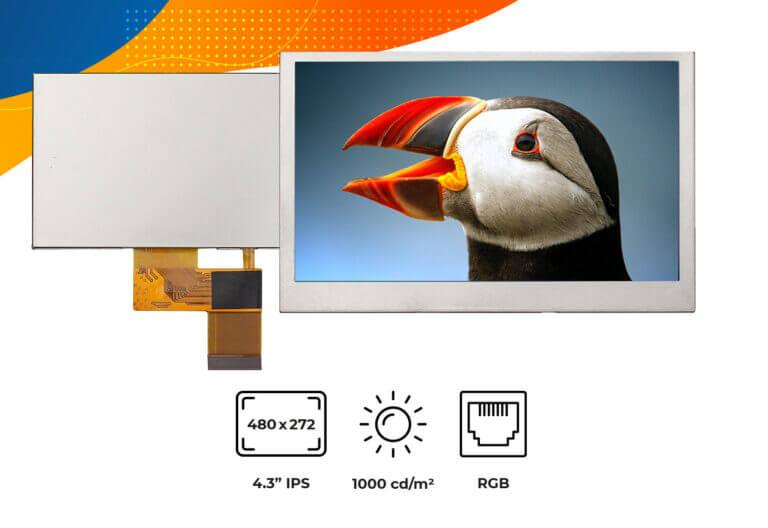 "High brightness IPS 4.3"" no frame display"