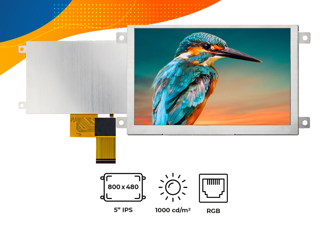 "High brightness IPS 5"" frame display"
