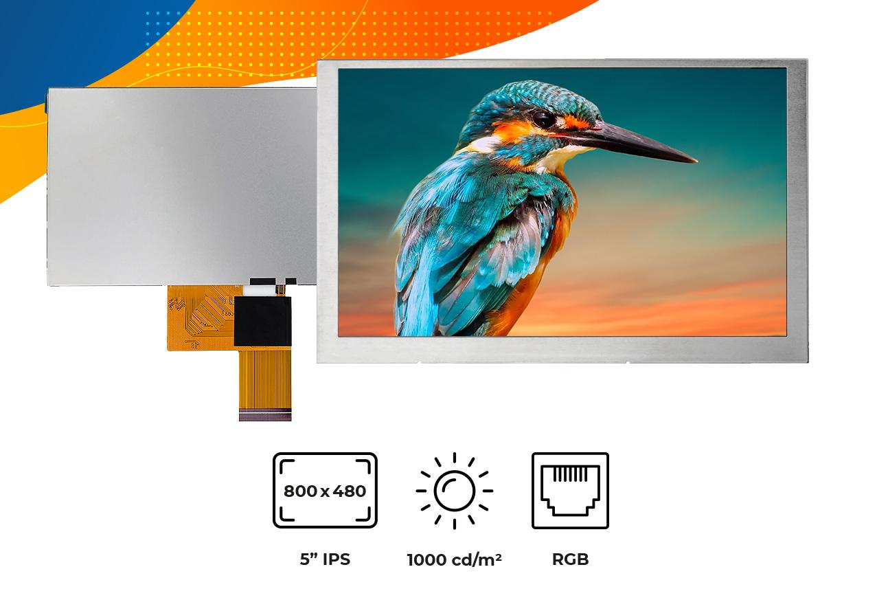 "High brightness IPS 5"" no frame display"