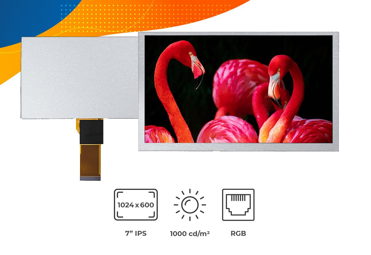 "High brightness IPS 7"" no frame display"